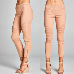 Pink Peplum Boutique Pants - 🆕 Pleated mineral washed blush Moto jegging capri