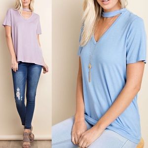 Pink Peplum Boutique Tops - 🆕 Bamboo knit short sleeve mock neck V neck top