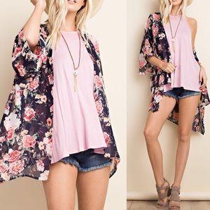 Pink Peplum Boutique Tops - 🆕 Floral print chiffon kimono sleeve cardigan