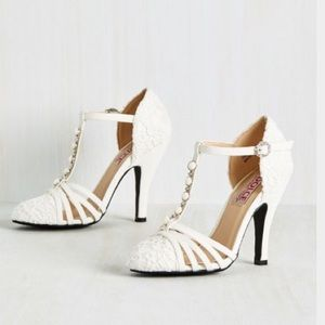 Lace t strap heels