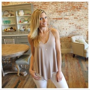 Tops - Taupe V neck top