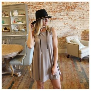 Taupe sleeveless swing dress