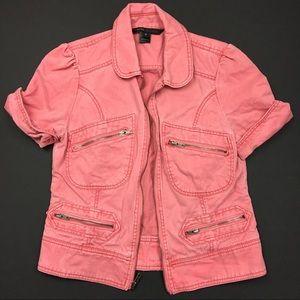 Marc Jacobs Jackets & Blazers - Marc Jacobs Faded Zipper Denim Short Sleeve Jacket