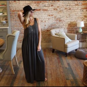 Charcoal sleeveless babydoll maxi dress
