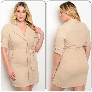 Cream Women's Size Shirt Dress