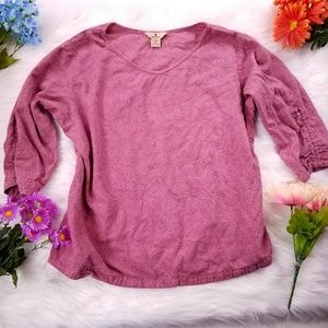 Woolrich rose pink top 3/4 sleeve size XL