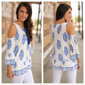 Infinity Raine Tops - Blue and white printed cold shoulder tunic