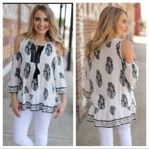 Infinity Raine Tops - Black and white printed cold shoulder tunic