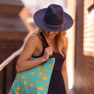 Infinity Raine Accessories - Navy Panama hat with vegan leather trim