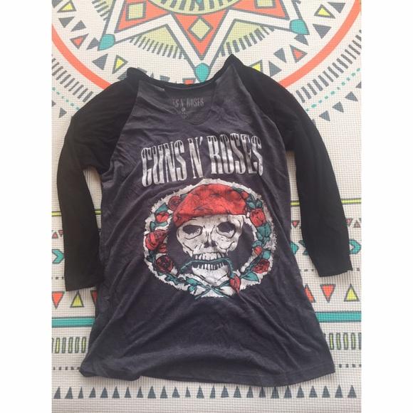 0c591d9d3463 Guns N' Roses Tops   Guns N Roses Black Grey V Neck Tshirt   Poshmark