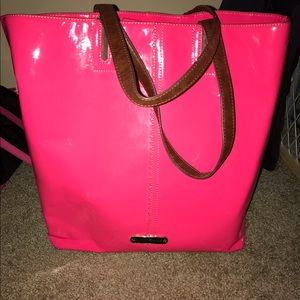 Betsey Johnson hot pink leather tote bag