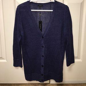 NWT Talbots Blue Linen Cardigan - Sz Medium