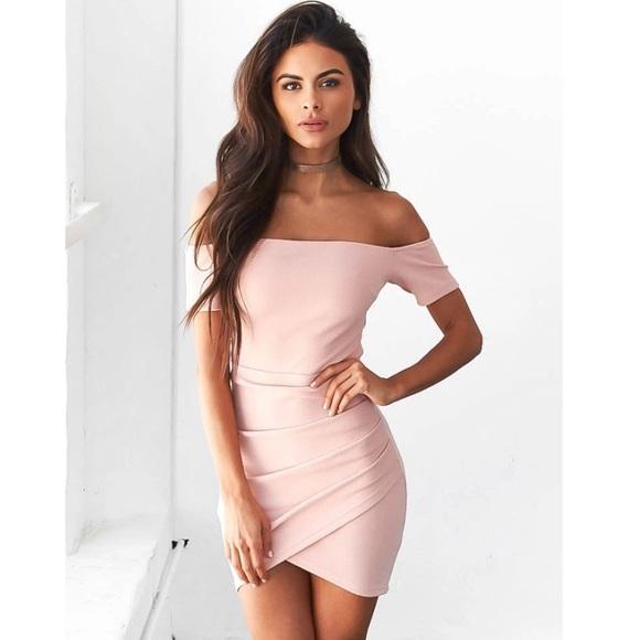 ea74d24419a9 Lola Blush Pink Off The Shoulder Dress