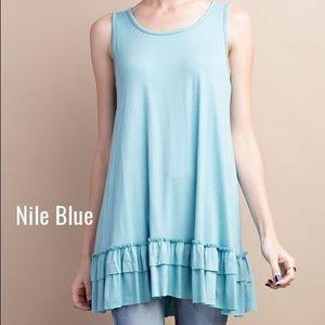 Pink Peplum Boutique Tops - 🆕 Blue sleeveless ruffle hem summer tunic top