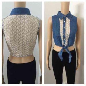 NWT denim lace crop top