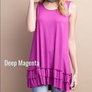 Pink Peplum Boutique Tops - 🆕 Flowy magenta ruffle hem sleeveless tunic top