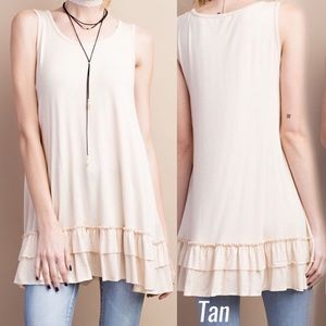 Pink Peplum Boutique Tops - 🆕Sleeveless tan ruffle hem round neck tunic top