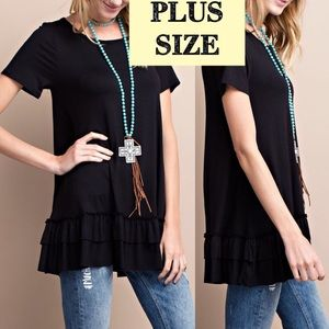 Pink Peplum Boutique Tops - 🆕 PLUS SIZE Black short sleeve ruffle tunic top