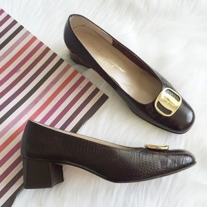 Ferragamo Shoes - Salvatore Ferragamo Gold Buckle Block Heel Pump