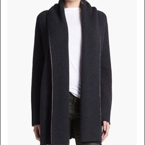 Vince Leather Trim Blanket Sweater