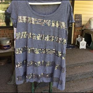 Apt. 9 Tops - Apt. 9 XL Gray Sequin Stripe T-Shirt