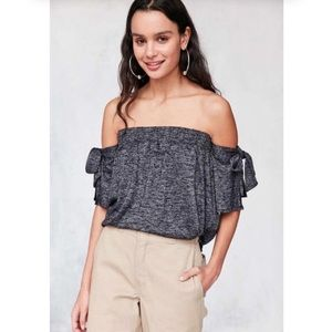 NWT Urban Outfitters Off Shoulder Tie Sleeve Top