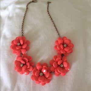 J. Crew coral flower necklace