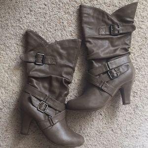 Khaki Color Heeled Boots
