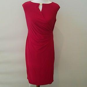NWT Ralph Lauren faux wrap red dress 10