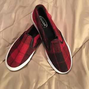 Soda Shoes - Red & Black Plaid, Slip-on Vans Style Shoe