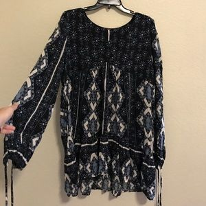 Blue and White Free People Long Sleeved Dress