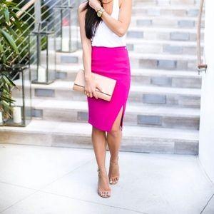 Tiger Mist Dresses & Skirts - Hot pink midi skirt with slit size S tiger mist