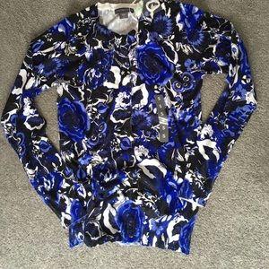 Covington Sweaters - Super soft blue and black flower print sweater