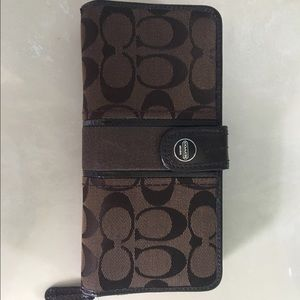 Authentic Coach Signature Brown Wallet