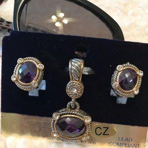 MX Signature Jewelry - Amethyst Pendant & Earrings NWT