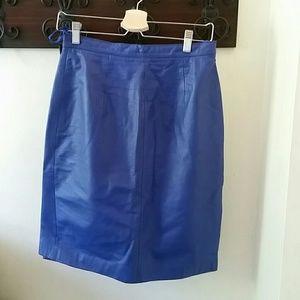 Vintage Blue Leather Skirt