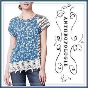 Anthropologie Floral, Lace and Striped Unique Top