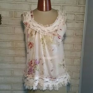 Passport Tops - Passport S Shear Tank Top Floral Lace Shabby Chic