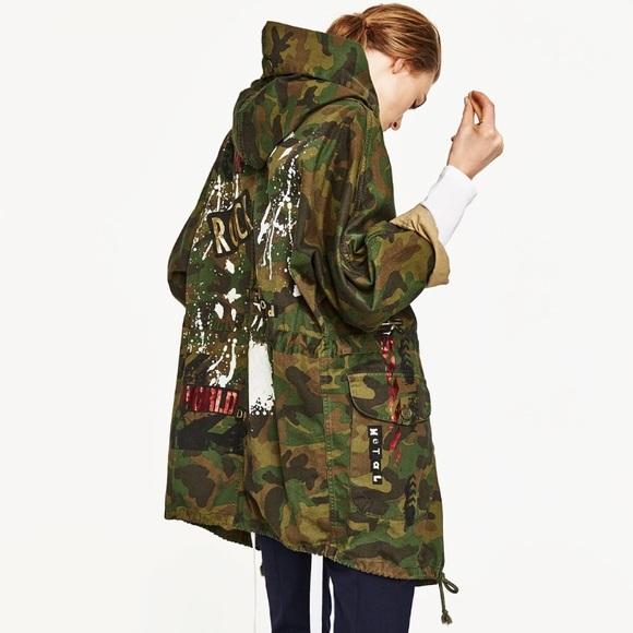 3300973eea 🆕Zara camouflage printed back parka NWT