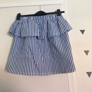 H&M striped ruffle tube top in blue/white