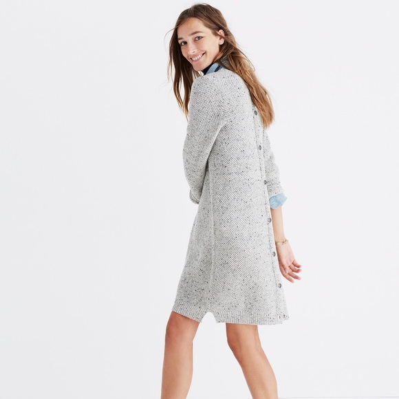 f447cdeb7e2 MADEWELL Button Back Sweater Dress in Donegal Gray