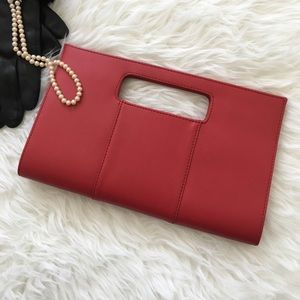 Charming Charlie Handbags - Red Faux Leather Clutch