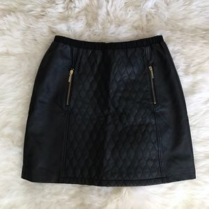 Athena Marie Dresses & Skirts - Athena Marie Black Faux Leather Quilted Skirt