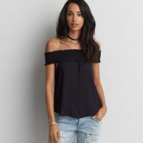 96ca4182 American Eagle Outfitters Tops - American eagle smocked off shoulder top