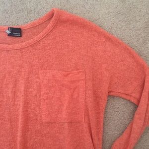 Sparkle & Fade Tops - Coral Sweater Shirt