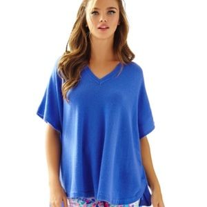 Lilly Pulitzer Zoe Cashmere Poncho  in Iris Blue