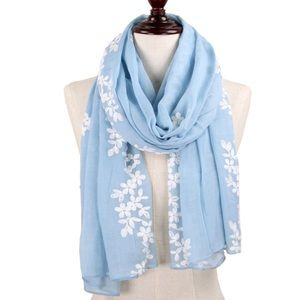 Accessories - Blue Floral Embroider Woven Scarf