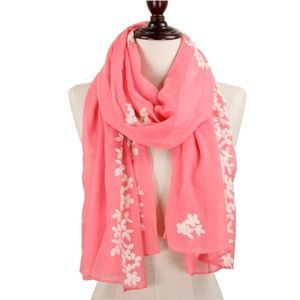 Accessories - Coral Floral Embroider Woven Scarf