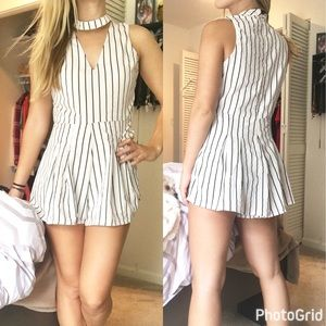 Poof! Dresses & Skirts - Striped romper with choker