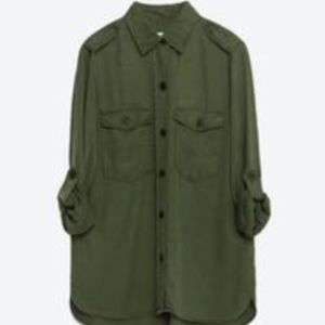 Army Green Zara Button Down